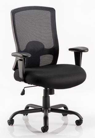 Pont mesh high back heavy duty wide seat task operator chair with black fabric seat
