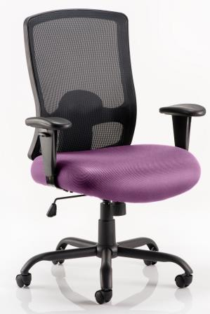 Pont mesh back heavy duty wide seat task operator chair with bespoke purple fabric seat