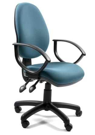 Sprint high back 2-lever operator chair with fixed loop arms. Bluebell fabric