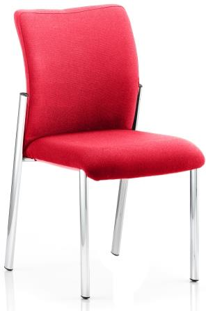 Arcadia 4-leg fully upholstered stacking chair without arms in cherry red bespoke fabric