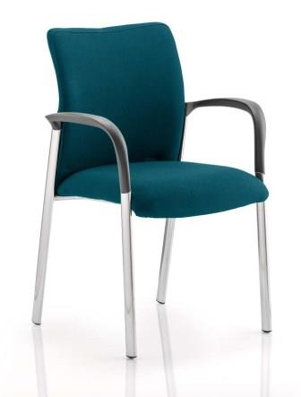 Arcadia 4-leg fully upholstered stacking chair with arms in bespoke swizzle fabric