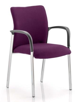 Arcadia 4-leg fully upholstered stacking chair with arms in bespoke purple fabric