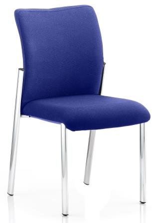 Arcadia 4-leg fully upholstered stacking chair without arms in bespoke serene fabric