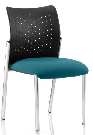 Arcadia 4-leg stacking chair with plastic backrest and bespoke kingfisher blue fabric seat. No arms
