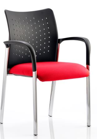Arcadia 4-leg stacking chair with plastic b/r, arms and bespoke cherry red fabric seat