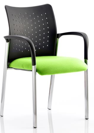 Arcadia 4-leg stacking chair with plastic b/r, arms and bespoke madura fabric seat