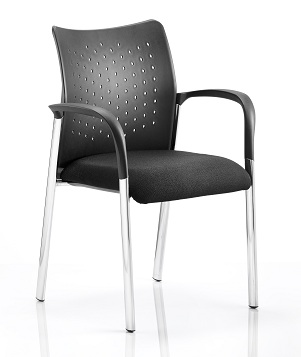 Arcadia 4-leg stacking chair with plastic backrest arms and black fabric seat (BR00010)