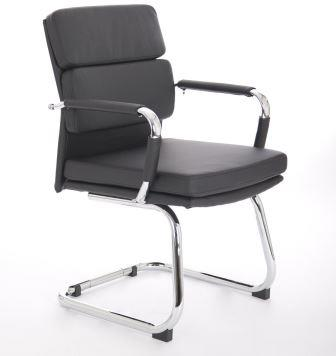 Avion cantilever frame visitor chair in black bonded leather
