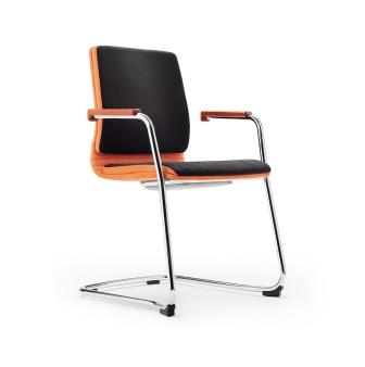 Belive fabric cantilever frame chair with integrated wooden armrests