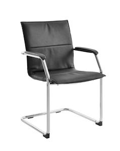 Budget black leather faced visitor armchair on chrome cantilever frame.