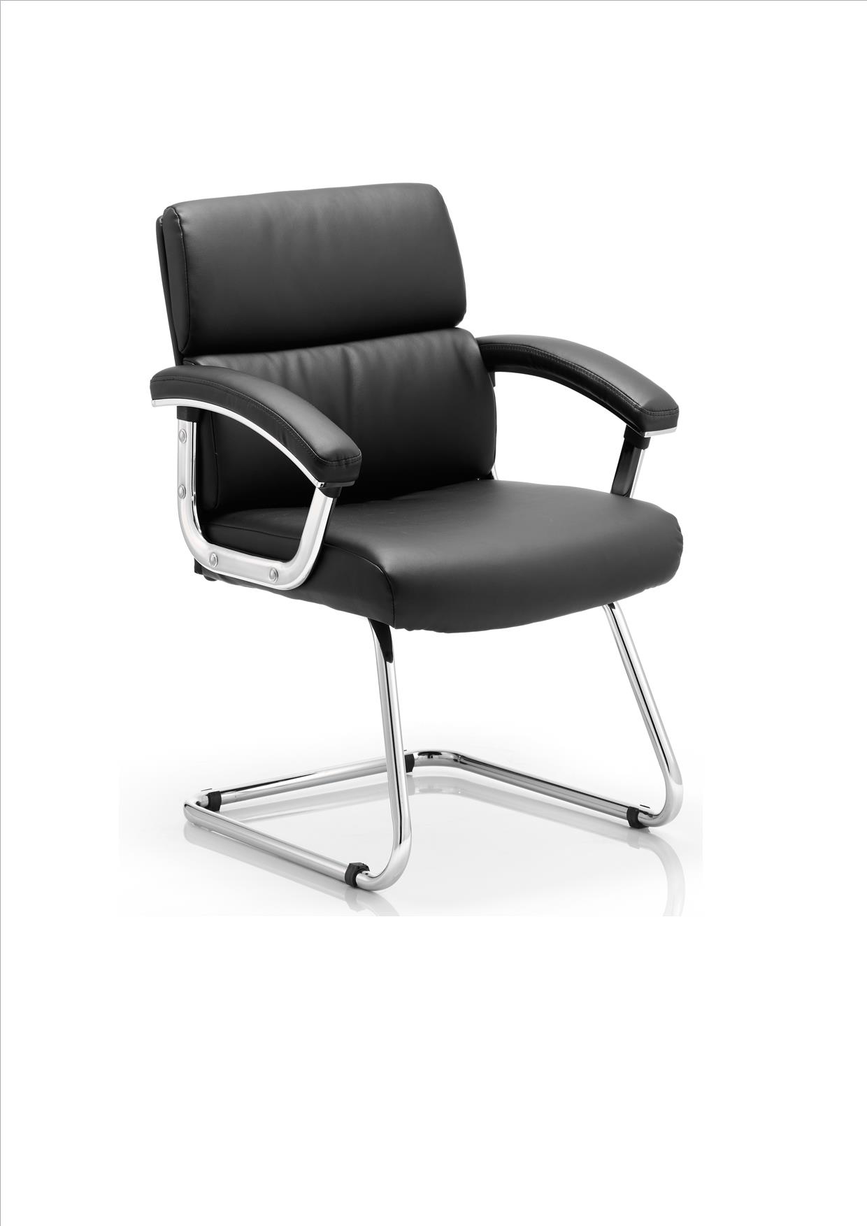 Detti cantilever frame black bonded leather chair