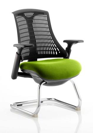 Flex cantilever frame, flexi backrest in black with bespoke madura fabric seat