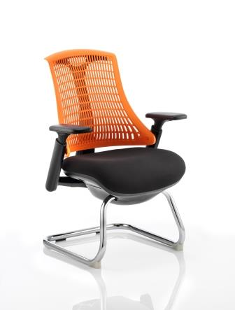 Flex cantilever frame, flexi backrest in orange with black fabric seat