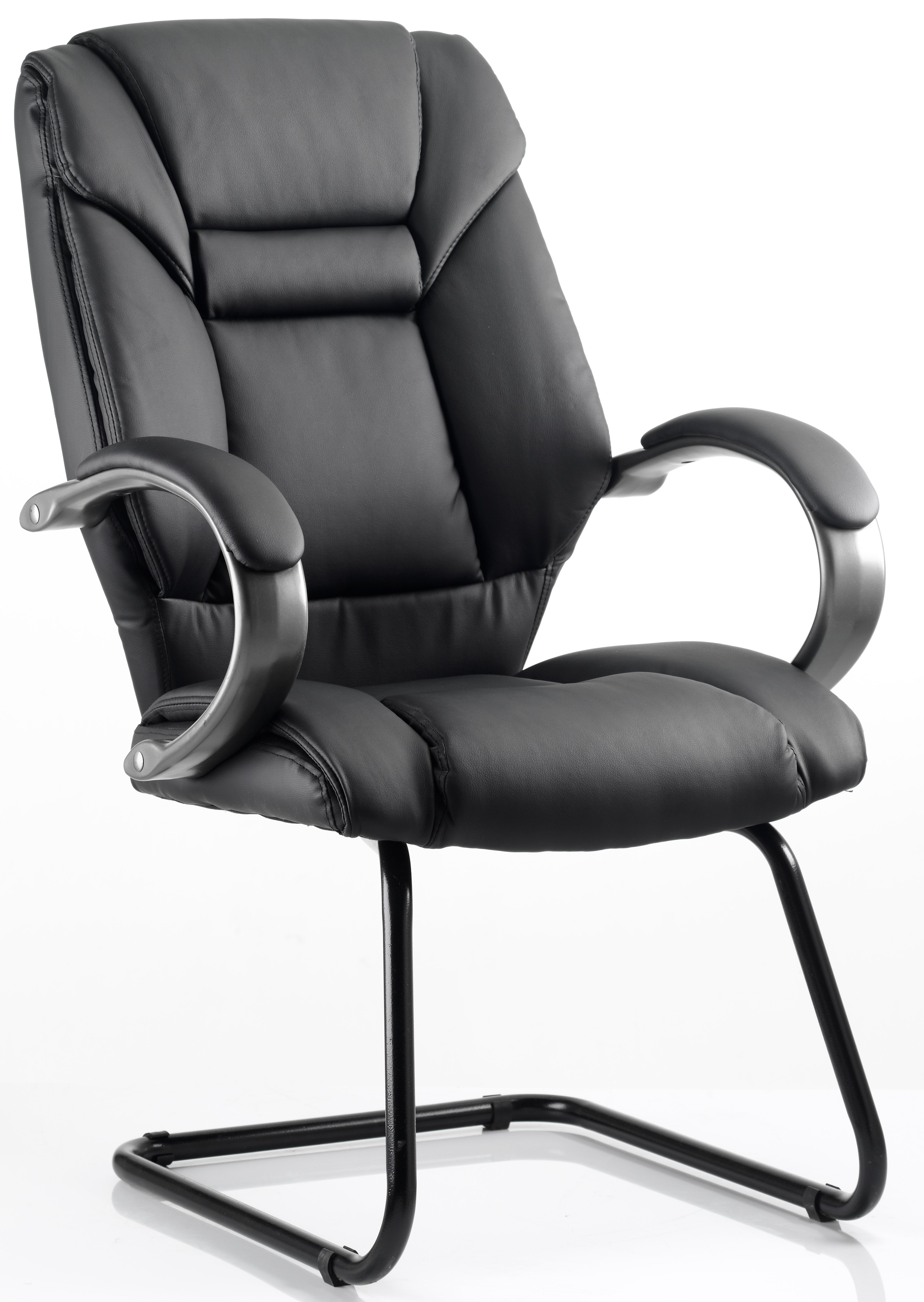 Garvi cantilever frame black bonded leather chair