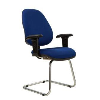 Kadeby chrome cantilever frame high back visitor meeting chair with height adjustable arms