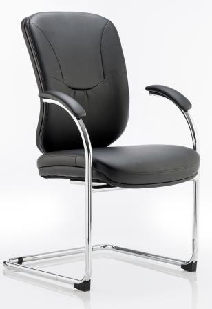 Mirst cantilever frame black bonded leather visitor meeting chair