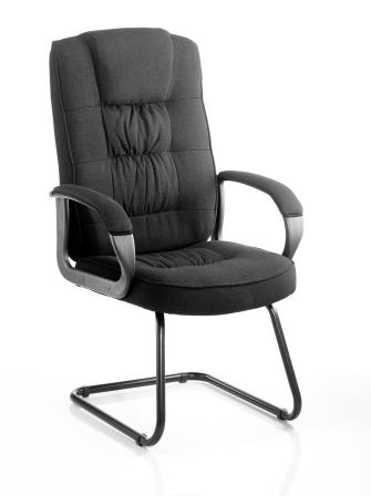 Moar cantilever frame visitor meeting chair in black fabric