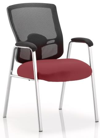 Pont black mesh back 4-leg chrome frame chair with bespoke chilli fabric seat