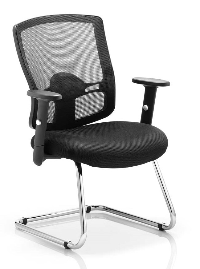 Pont mesh back cantilever frame visitor chair with arms and airmesh black fabric seat