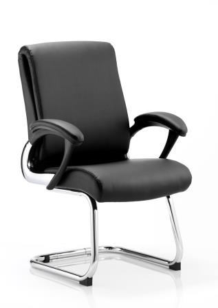 Rar cantilever frame chair with folding backrest and integrated arms in supple black bonded leather finish