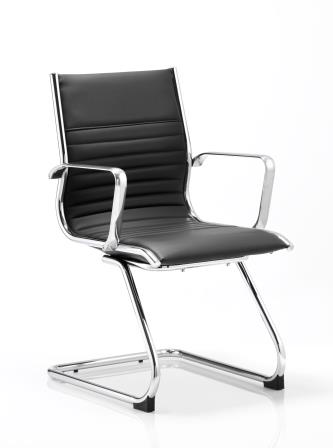 Ray cantilever frame black bonded leather chair with integrated chrome arms