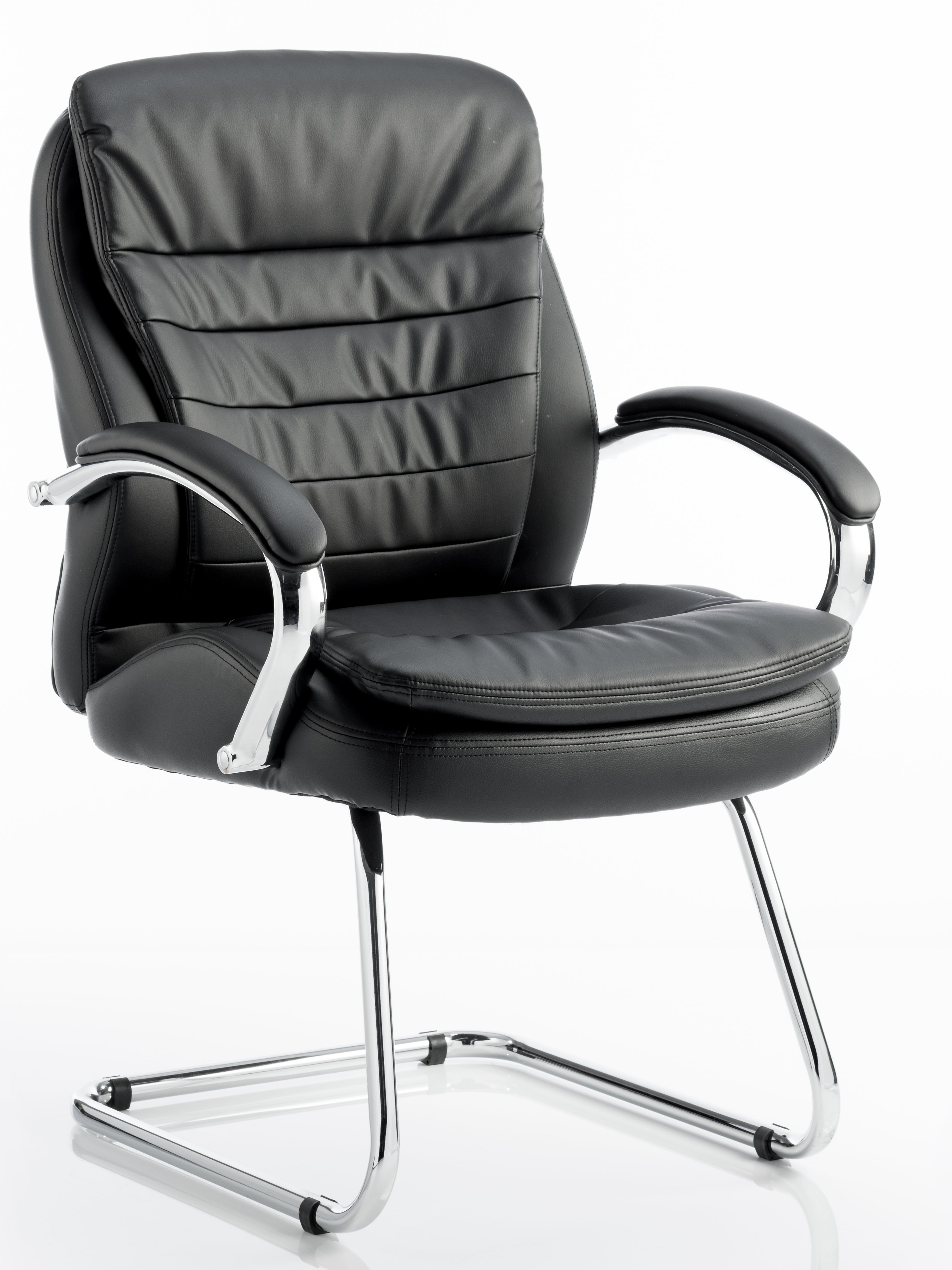 Roam cantilever frame chair in black bonded leather with integrated arms and sculptured backrest
