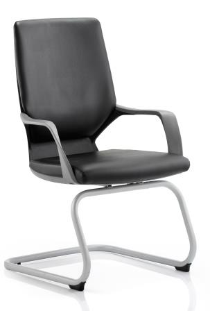 Zell cantilever chair with white frame, integrated armrests in a black bonded leather finish