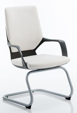 Zell cantilever chair with integrated armrests in a white bonded leather finish